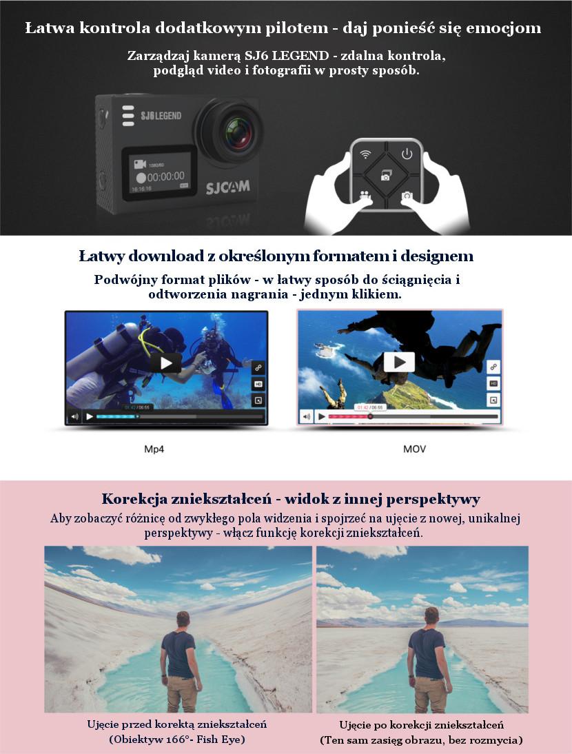 Opcje nagrywania kamery sportowej SJ6 Legend