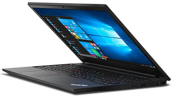 Lenovo ThinkPad E590 laptop angled right and open about 75 degrees.