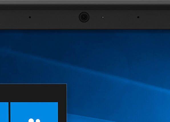 Lenovo ThinkPad E590 laptop closeup of webcam.