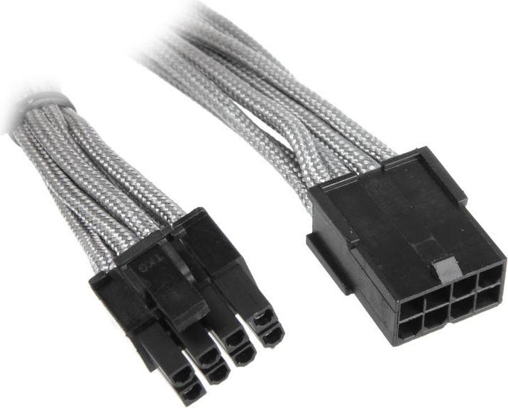 BitFenix 6+2-Pin PCIe przedłużacz 45cm - ekranowany srebrno - czarny (BFA-MSC-62PEG45SK-RP)