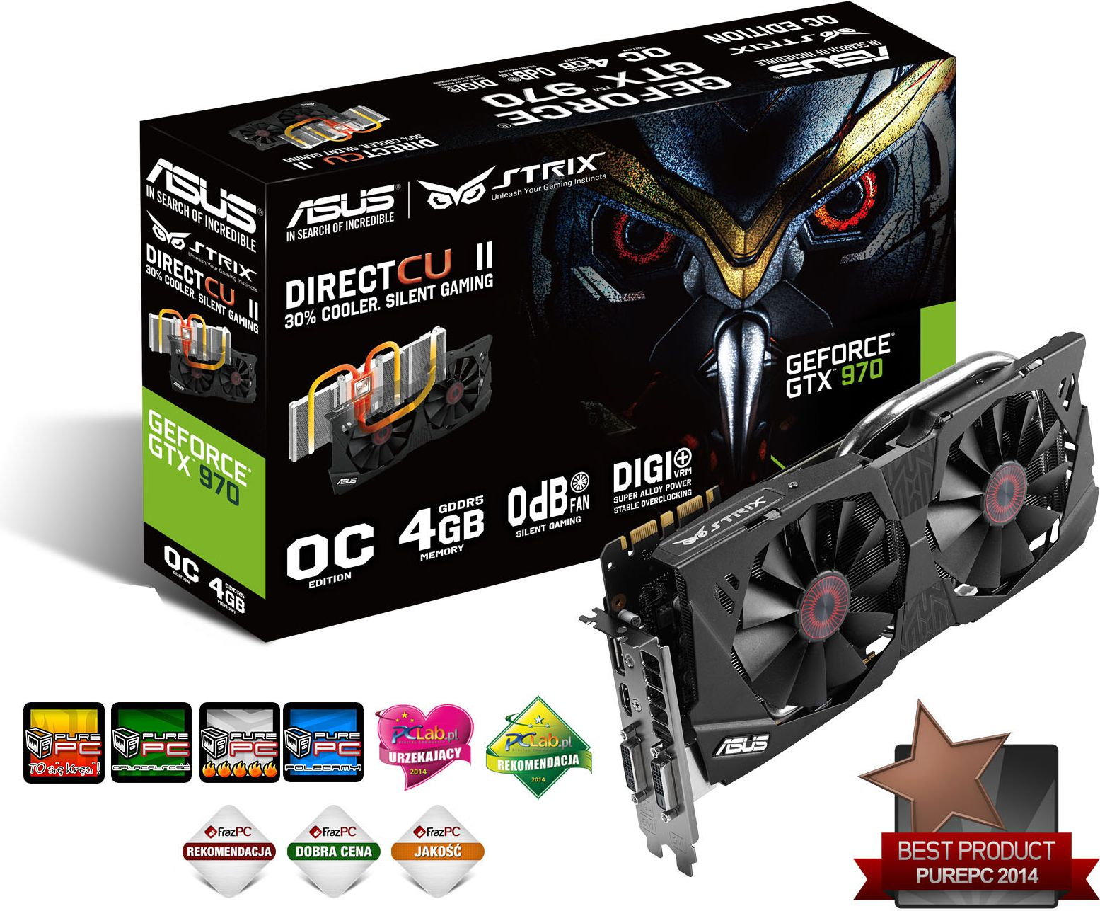 Karta graficzna Asus GeForce GTX 970 Strix 4GB DDR5 (256 bit) DP, HDMI, 2x DVI (STRIX-GTX970-DC2OC-4GD5)