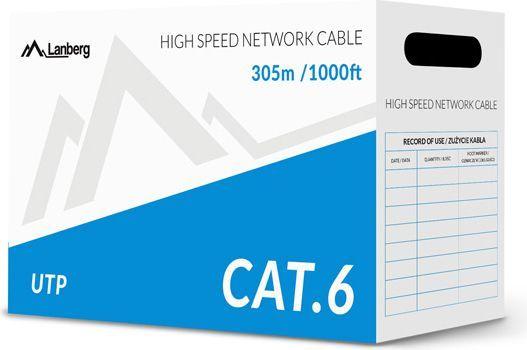 Lanberg przewód instalacyjny UTP, cat6, DRUT, 305m (LCU6-10CC-0305-S) 1