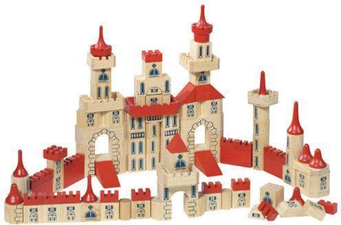 Goki Zamek z klocków, drewniany zestaw, 150 części (GOKI-WB 505) 1