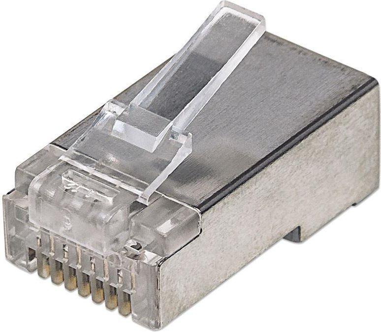 Intellinet Network Solutions Wtyk modularny RJ45 8P8C Cat5e STP na drut i linkę słoik 100szt. (90529) 1