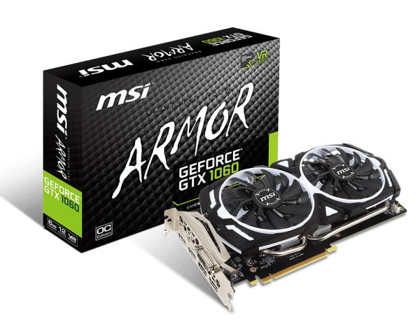 Karta graficzna MSI GeForce GTX 1060 ARMOR OC V1 6GB GDDR5 (192 Bit) 1xHDMI, DVI, 3xDP, BOX (GTX 1060 ARMOR 6G OCV1) 1