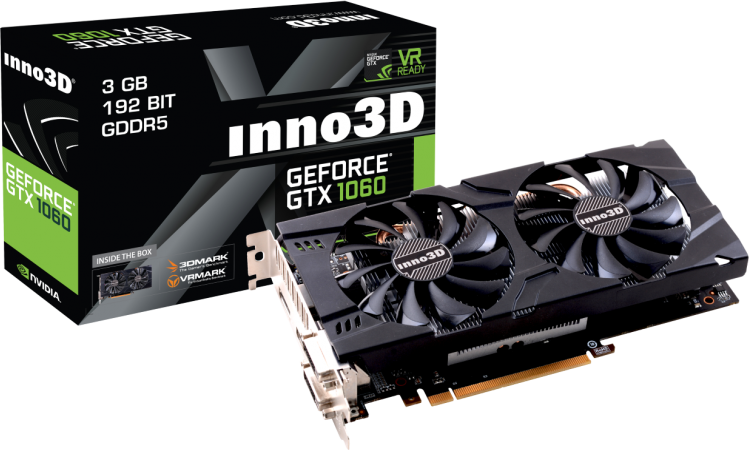 Karta graficzna Inno3D GeForce GTX1060 Twin X2 3GB GDDR5 (192 Bit) 2xDVI, HDMI, DP, BOX (N106F-2SDN-L5GS) 1