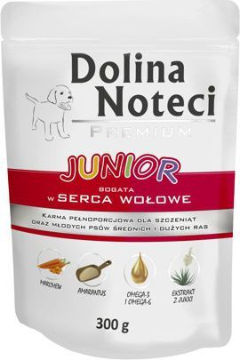 Dolina Noteci Premium Junior bogata w serca wołowe 300 g 1