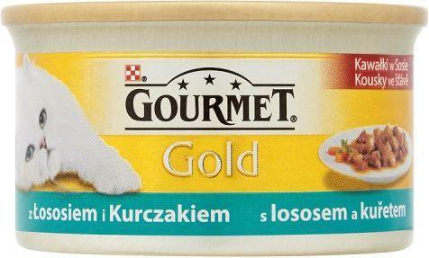Gourmet Gold Kawałki w sosie z łososiem i kurczakiem 85g 1