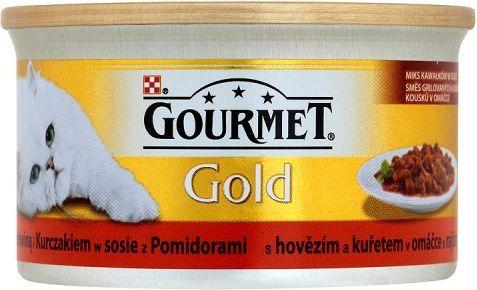 Gourmet Gold z wołowiną i kurczakiem w sosie z pomidorami 85g 1