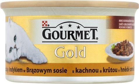 Gourmet Gold z kaczką i indykiem w brązowym sosie 85g 1