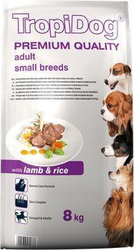 TropiDog Jagnięcina z ryżem TropiDog Premium Adult Small Breeds 8kg - 5900469570678 1