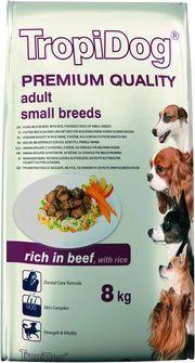 TropiDog Wołowina z ryżem TropiDog Premium Adult Small Breeds 8kg - 5900469570876 1