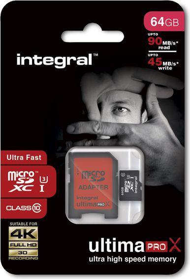 Karta Integral UltimaPro X MicroSDXC 64 GB Class 10 UHS-I/U3  (T_0013739) 1