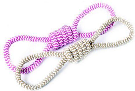 zabawka dla psa z linki przeciągacz, różowa - 17440 1