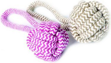 zabawka dla psa z linki piłka z rączką, różowa - 17438 1