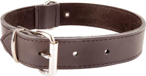 Dingo obroża ze skóry natłuszczanej, podszyta miękką skórą, okucia chrom, szer. 40 mm x 75 cm (53-58 cm) brąz 1