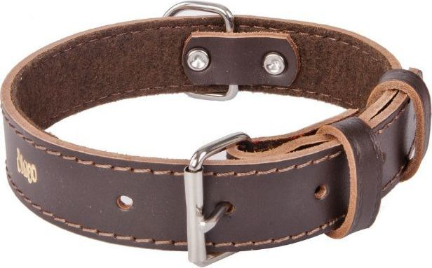 Dingo obroża skórzana podszyta filcem szer. 2,2 cm dł. 55 cm brown - 13662 1