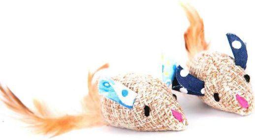 Dingo zabawka dla kota myszki 2 szt. lniane - eco - 21258 1