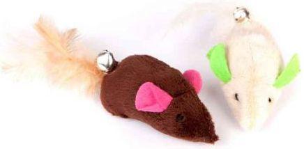 Dingo zabawka dla kota myszki 2 szt. pluszowe brązowa + ecru - 21259 1