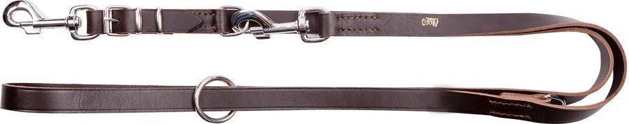 Dingo Skórzana przedłużana szyta 2.0/110-200cm z wymiennym karabińczykiem Brązowa (10302) 1