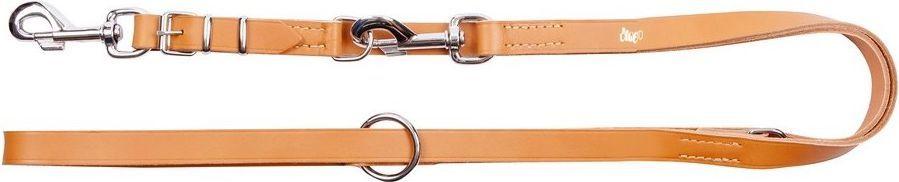 Dingo Skórzana przedłużana szyta 2.0/110-200cm z wymiennym karabińczykiem Beżowa (10301) 1