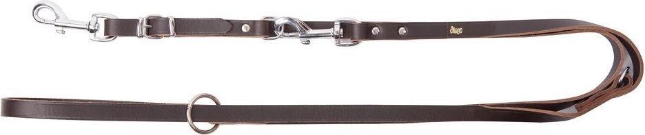 Dingo Skórzana przedłużana nitowana 1.5/110-200cm z wymiennym karabińczykiem Brązowa (10248) 1