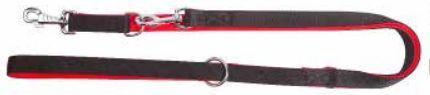 Dingo smycz przedłużana z taśmy polipropylenowej podwójnie zszywanej, 2.5 x 120-220 cm, red+black 1