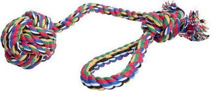 Dingo zabawka ze sznurka bawełnianego piłka z rączką, wielokolorowa, 120 g - 17434 1