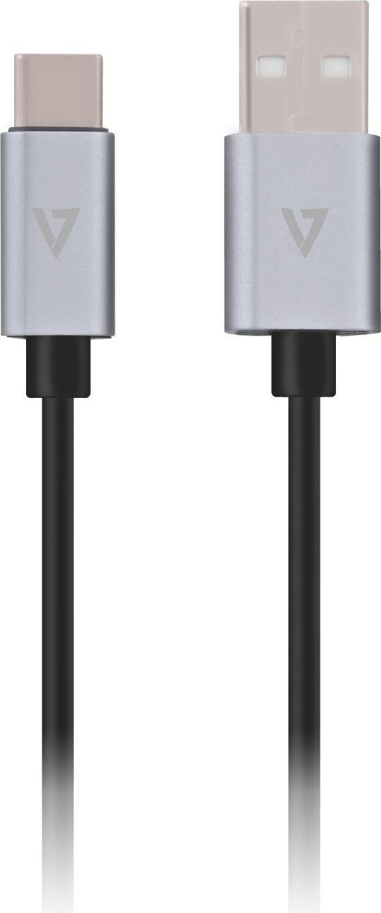 Kabel USB V7 USB-C - USB-A 1m Szary (V7U2C-1M-ALUGR-1EC) 1