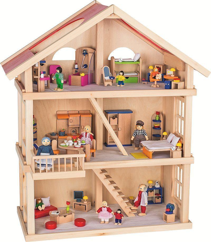 Goki Duży trzypiętrowy domek dla lalek (51957) 1