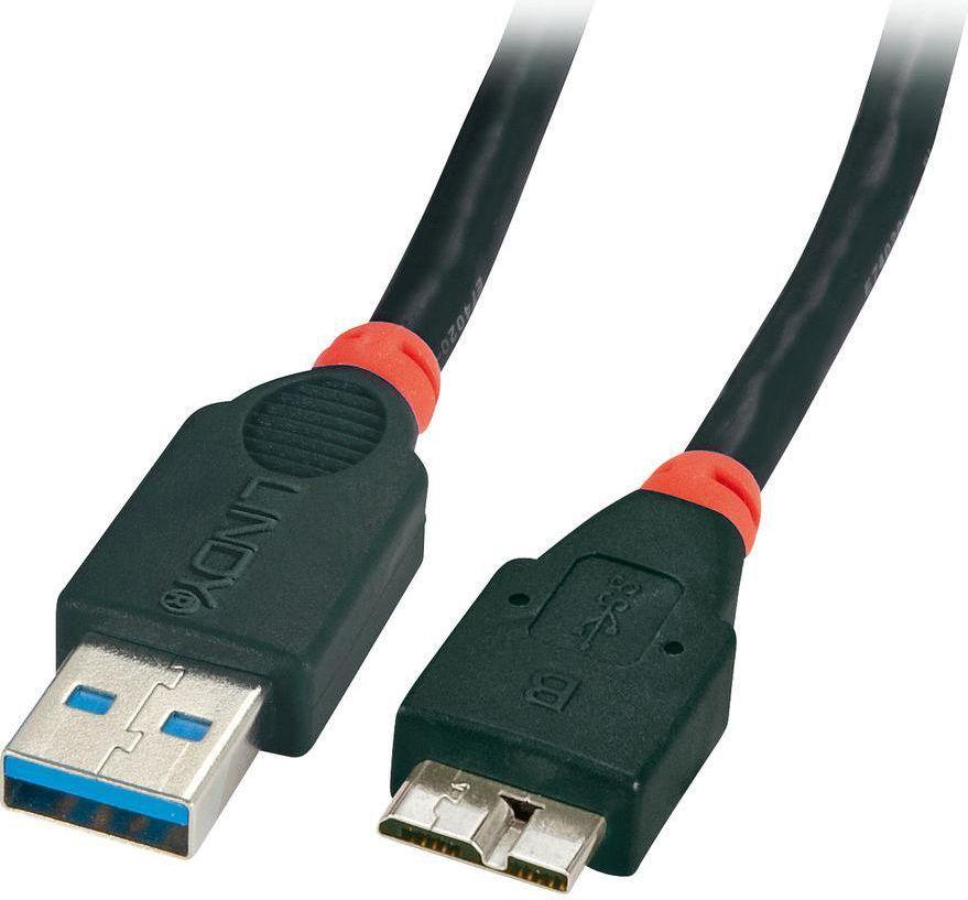 Kabel USB Lindy microUSB 3m Czarny (41838) 1