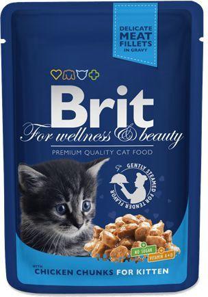 Brit Premium Cat Pouches Chicken Chunks for Kitten 100g 1