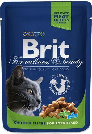 Brit Premium Cat Pouches Chicken Slices for Sterilised 100g 1