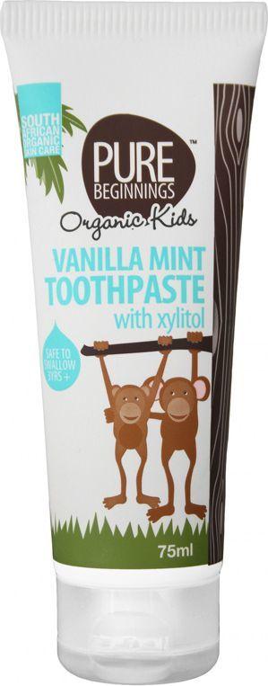 Pure Beginnings Organic Kids pasta do zębów bez fluoru z Ksylitolem o smaku waniliowej mięty 75ml 1
