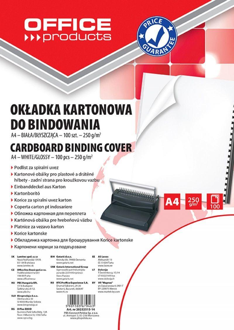 Office Products OKŁADKI DO BINDOWANIA OFFICE PRODUCTS, KARTON, A4, 250GSM, BŁYSZCZĄCE, 100SZT., BIAŁE - zakupy dla firm. - 20232515-14 1