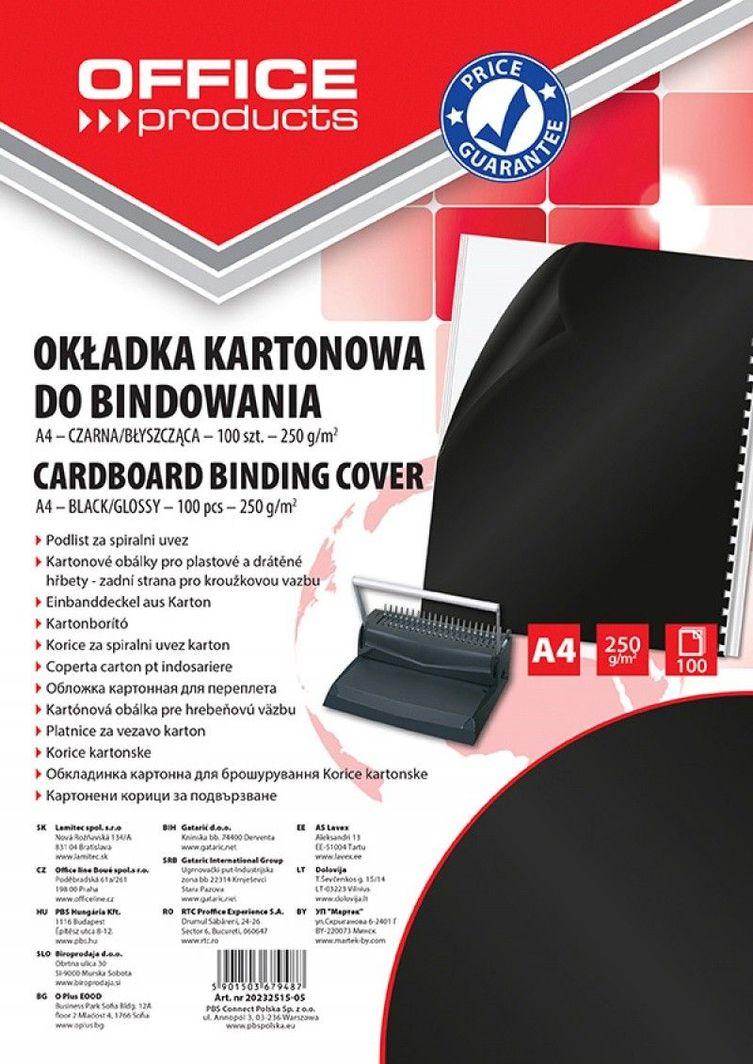 Office Products OKŁADKI DO BINDOWANIA OFFICE PRODUCTS, KARTON, A4, 250GSM, BŁYSZCZĄCE, 100SZT., CZARNE - zakupy dla firm. - 20232515-05 1