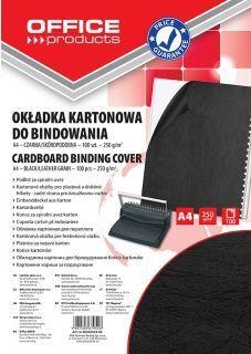 Office Products Okładki Do Bindowania, Karton, A4, 250 Gsm, Skóropodobne, 100 Szt., Czarne (20232525-05) 1