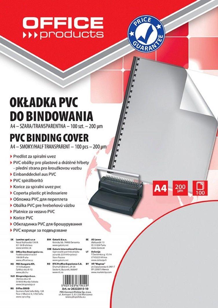 Office Products OKŁADKI DO BINDOWANIA OFFICE PRODUCTS, PVC, A4, 200MIKR., 100SZT., SZARE TRANSPARENTNE - zakupy dla firm. - 20222015-10 1