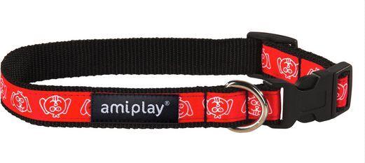 Ami Play Obroża regulowana Joy M 25-40 [b] x 1,5cm Czerwona mordka 1