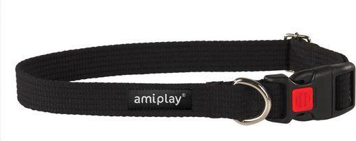 Ami Play Obroża regulowana z blokadą Cotton M 35-50 [b] x 2cm Czarny 1
