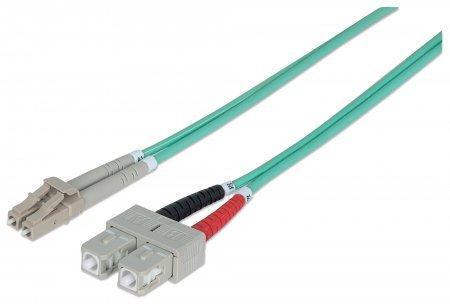 Intellinet Network Solutions Patchcord światłowodowy LC/SC OM3 50/125um Duplex Multimode, 10m, turkusowy (750523) 1