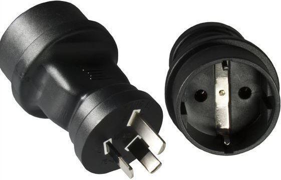MicroConnect Adapter zasilania China - Schuko, czarny (PEAUS3PSCH) 1