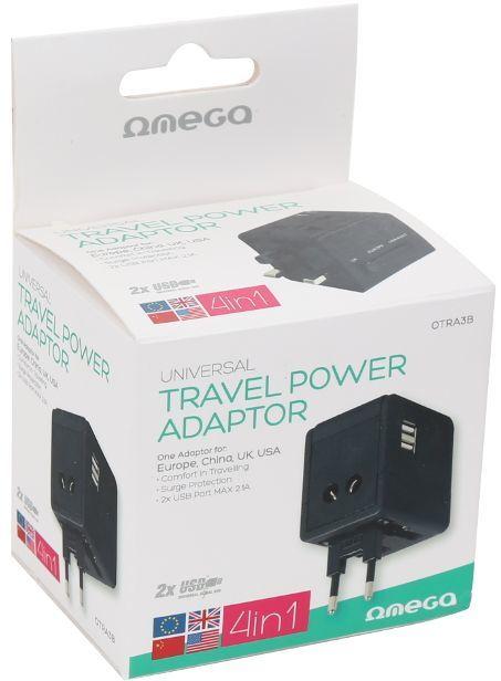 Omega Adapter podróżny 4 w 1 220-250V + 2 x USB 1
