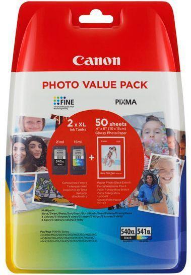 Canon PG-540XL/CL540XL Value Pack blister security 4x6 Phot Paper GP-501 50sheets + XL Black & XL Colour Cartridges (5222B014) 1