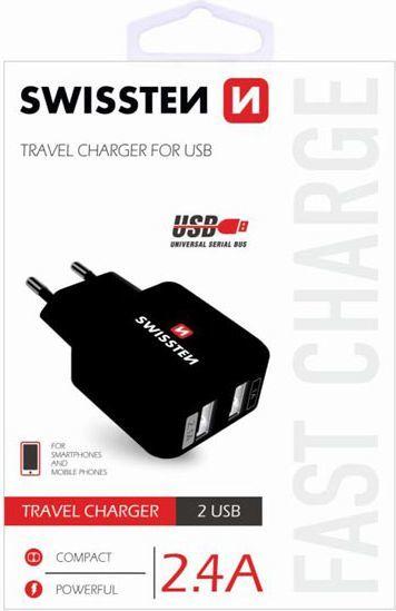 Ładowarka Swissten Adapter sieciowy, 2x USB (22013200) 1