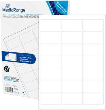 MediaRange Etykiety białe 63,5x38,1mm 1050 sztuk (MRINK148) 1