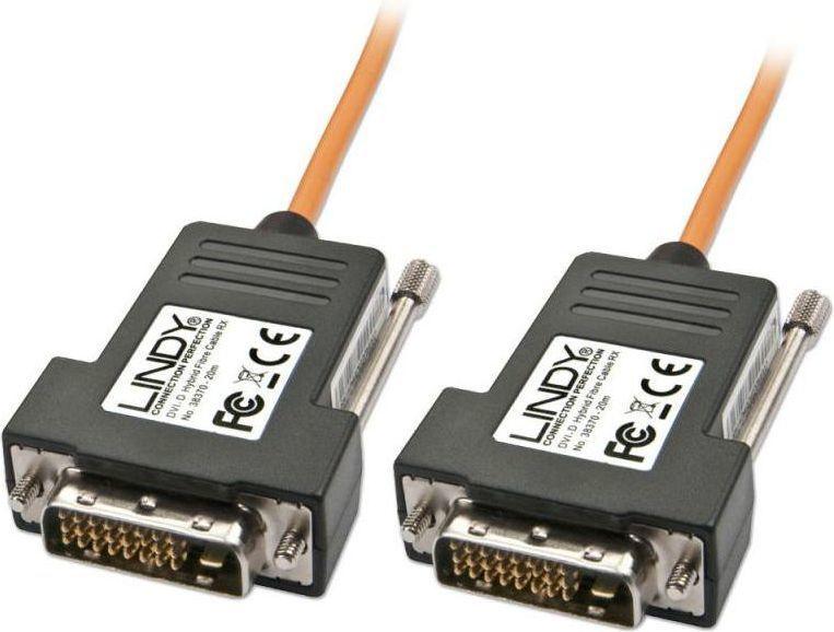 Kabel Lindy DVI-D - DVI-D 30m pomarańczowy (38371) 1