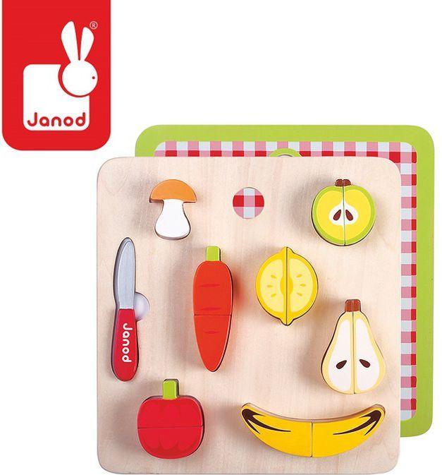 Janod Warzywa i owoce zestaw do krojenia drewniany magnetyczny, Janod - J06529 1