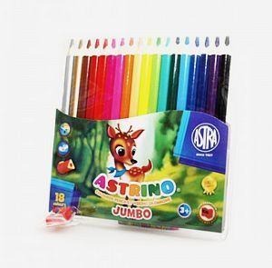 Astra Kredki ołówkowe 18 kolorów w drewnie + temperówka 1