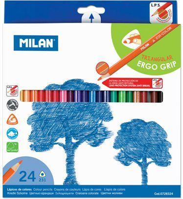 Milan Kredki ołówkowe trójkątne 24 kolory (154514) 1